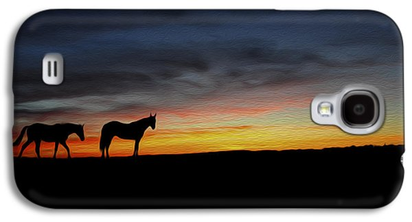 Horses Walking In The Sunset Galaxy S4 Case by Aged Pixel