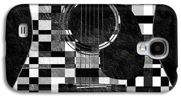 Hour Glass Guitar Random Bw Squares Galaxy S4 Case by Andee Design