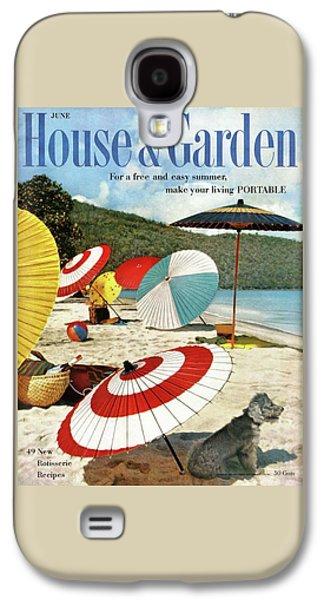 House And Garden Featuring Umbrellas On A Beach Galaxy S4 Case