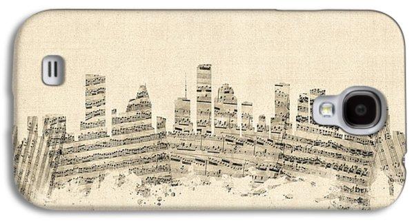 Houston Texas Skyline Sheet Music Cityscape Galaxy S4 Case by Michael Tompsett