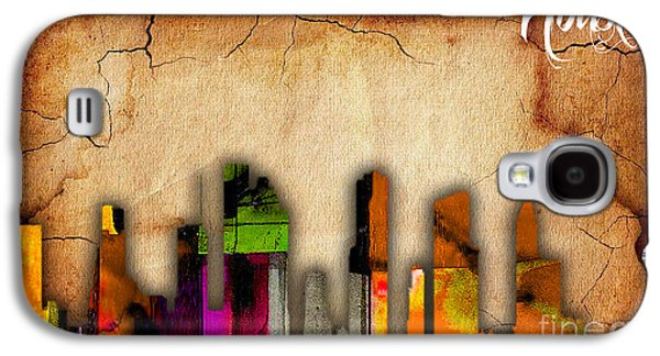 Houston Texas Skyline Watercolor Galaxy S4 Case by Marvin Blaine
