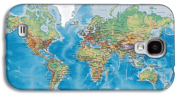 Huge Hi Res Mercator Projection Physical And Political Relief World Map Galaxy S4 Case by Serge Averbukh