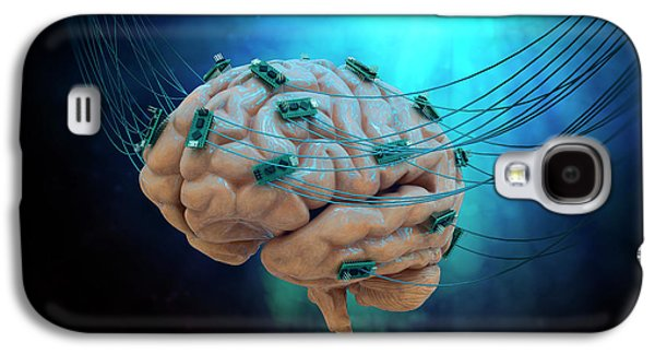 Human Brain With Cables And Microchips Galaxy S4 Case