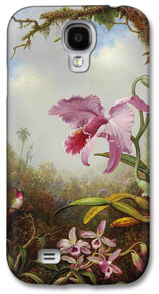 Orchid Galaxy S4 Case - Hummingbird And Two Types Of Orchids by Martin Johnson Heade