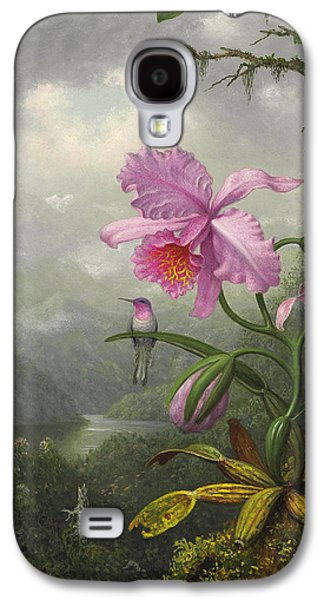 Orchid Galaxy S4 Case - Hummingbird Perched On The Orchid Plant by Martin Johnson Heade