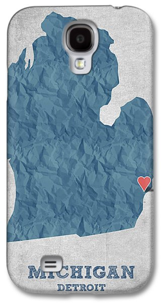 I Love Detroit Michigan - Blue Galaxy S4 Case by Aged Pixel