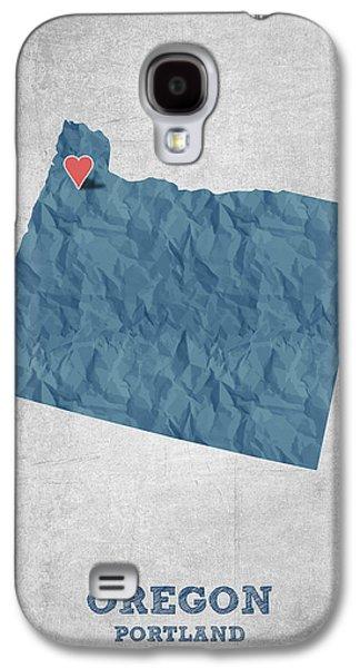 I Love Portland Oregon- Blue Galaxy S4 Case by Aged Pixel