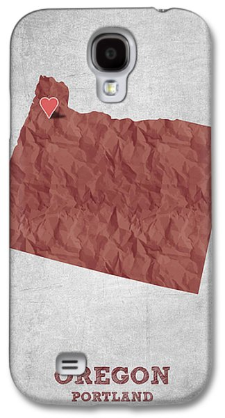 I Love Portland Oregon- Red Galaxy S4 Case by Aged Pixel
