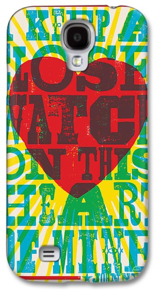I Walk The Line - Johnny Cash Lyric Poster Galaxy S4 Case