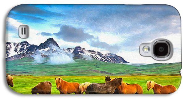 Icelandic Horses In Iceland Painting With Vibrant Colors Galaxy S4 Case by Matthias Hauser