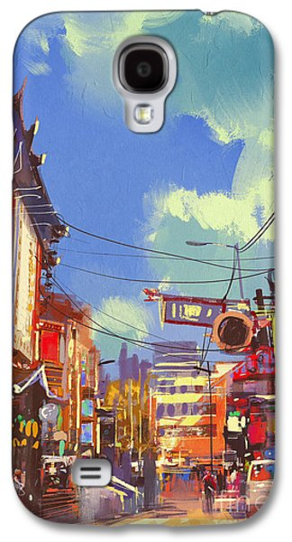 Downtown Galaxy S4 Case - Illustration Painting Of Shopping by Tithi Luadthong
