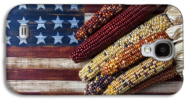 Indian Corn On American Flag Galaxy S4 Case by Garry Gay