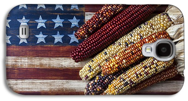 Vegetables Galaxy S4 Case - Indian Corn On American Flag by Garry Gay