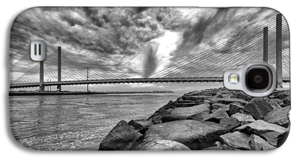 Indian River Bridge Clouds Black And White Galaxy S4 Case