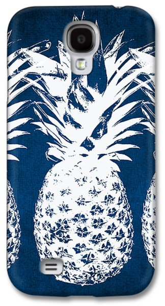 Indigo And White Pineapples Galaxy S4 Case by Linda Woods