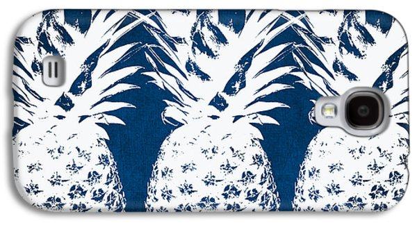 Travel Galaxy S4 Case - Indigo And White Pineapples by Linda Woods