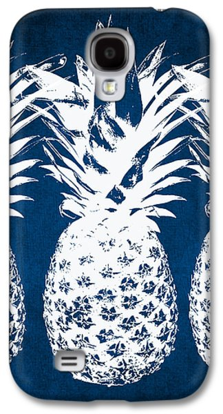 Beach Galaxy S4 Case - Indigo And White Pineapples by Linda Woods