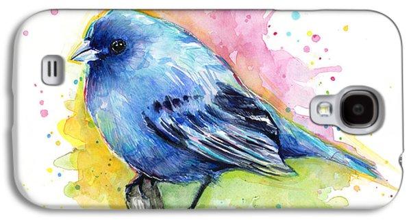 Indigo Bunting Blue Bird Watercolor Galaxy S4 Case by Olga Shvartsur