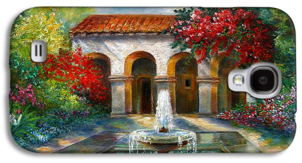 Italian Abbey Garden Scene With Fountain Galaxy S4 Case by Regina Femrite
