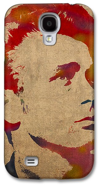James Dean Watercolor Portrait On Worn Distressed Canvas Galaxy S4 Case by Design Turnpike