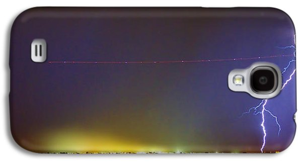 Jet Over Colorful City Lights And Lightning Strike Panorama Galaxy S4 Case by James BO  Insogna