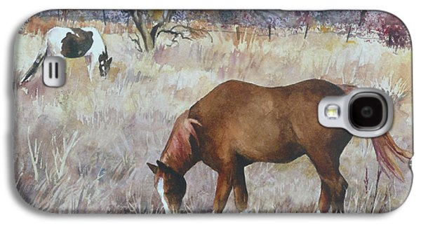 Jill's Horses On A November Day Galaxy S4 Case by Anne Gifford