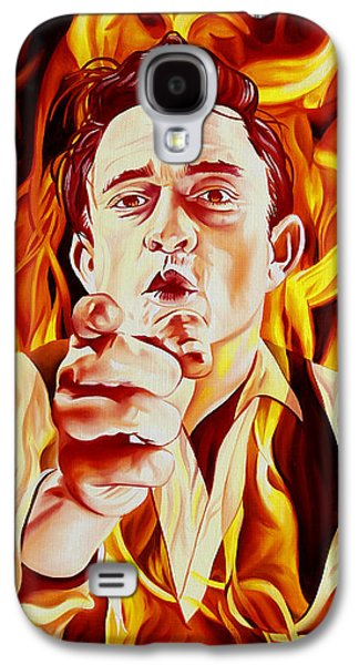 Johnny Cash And It Burns Galaxy S4 Case by Joshua Morton