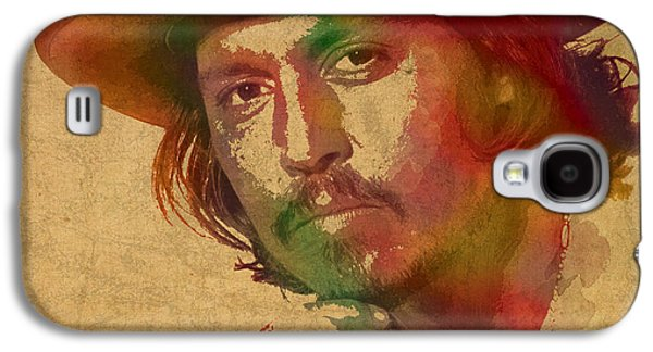 Johnny Depp Watercolor Portrait On Worn Distressed Canvas Galaxy S4 Case by Design Turnpike
