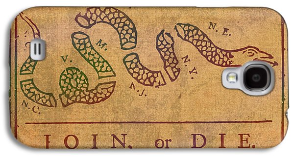 Join Or Die Benjamin Franklin Political Cartoon Pennsylvania Gazette Commentary 1754 On Parchment  Galaxy S4 Case by Design Turnpike