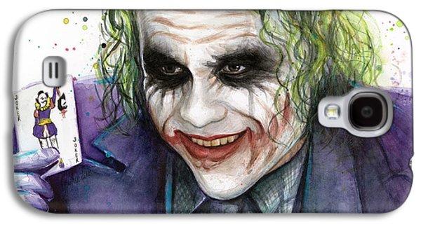 Bat Galaxy S4 Case - Joker Watercolor Portrait by Olga Shvartsur