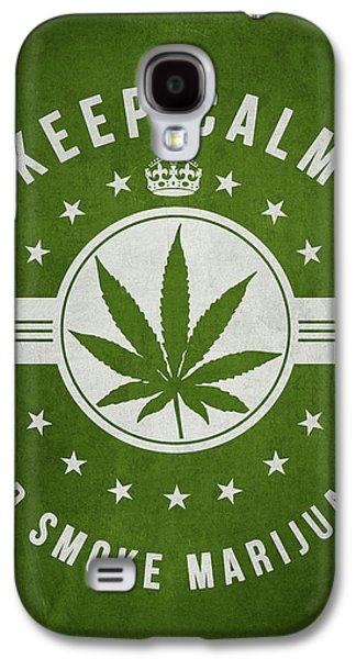 Keep Calm And Smoke Marijuana - Green Galaxy S4 Case