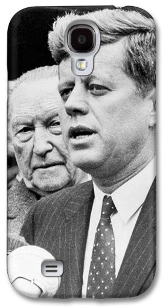 Kennedy With Konrad Adenauer Galaxy S4 Case by Underwood Archives