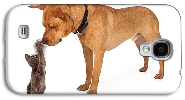 Kitten Batting At Nose Of Large Breed Dog Galaxy S4 Case by Susan Schmitz