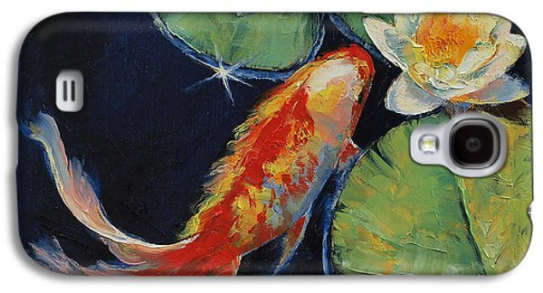 Koi And White Lily Galaxy S4 Case by Michael Creese