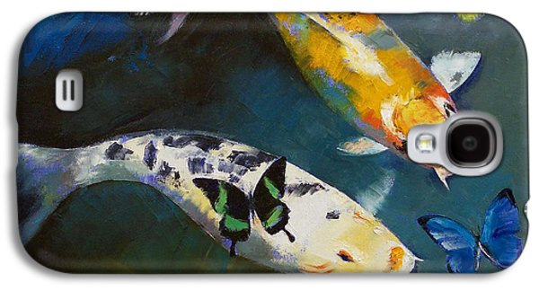 Koi Fish And Butterflies Galaxy S4 Case by Michael Creese