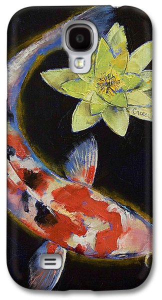 Koi With Yellow Water Lily Galaxy S4 Case by Michael Creese