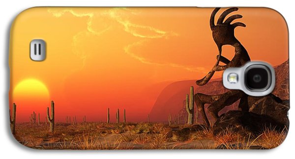 Kokopelli Sunset Galaxy S4 Case by Daniel Eskridge