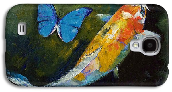Kujaku Koi And Butterfly Galaxy S4 Case by Michael Creese