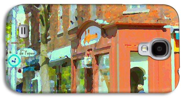 La Hacienda Resto Rue De L'epee Et Van Horne Outremont Montreal Spring City Scene Carole Spandau Galaxy S4 Case by Carole Spandau