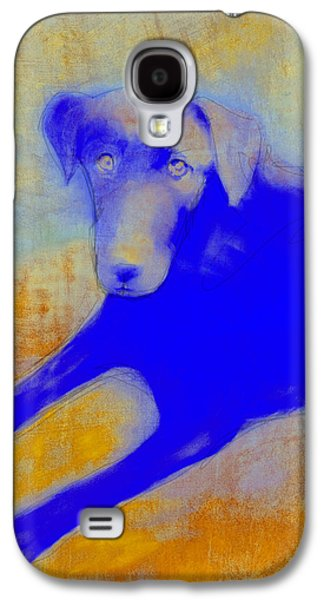 Labrador Retriever In Blue And Yellow Galaxy S4 Case by Ann Powell