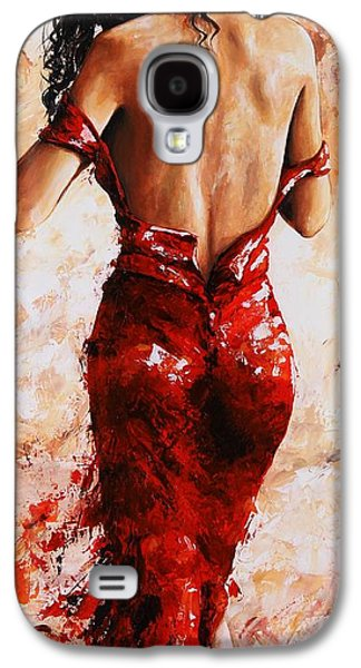 Lady In Red #24 Large  Galaxy S4 Case by Emerico Imre Toth