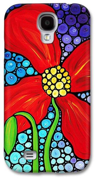Lady In Red - Poppy Flower Art By Sharon Cummings Galaxy S4 Case by Sharon Cummings