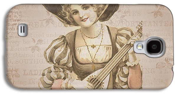 Lady With Music Roses Background Galaxy S4 Case