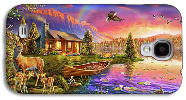 Galaxy S4 Case featuring the drawing Lakeside Cabin  by Adrian Chesterman