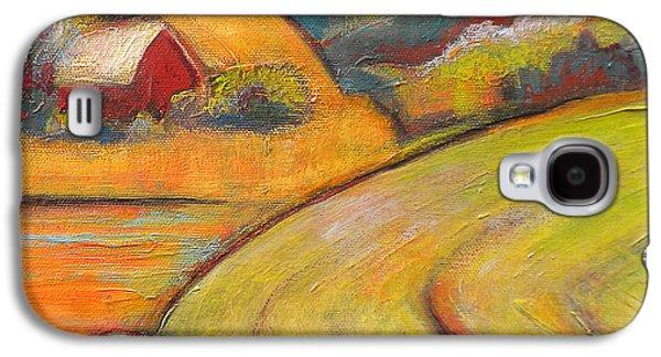 Landscape Art Orange Sky Farm Galaxy S4 Case by Blenda Studio