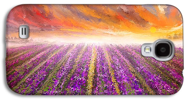 Lavender Field Painting - Impressionist Galaxy S4 Case by Lourry Legarde