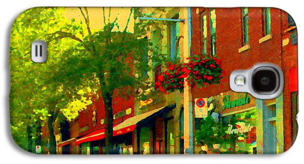 Le Trio French Speciality Shops Fleuriste Patissier Chocolatier Montreal Street Scene Carole Spandau Galaxy S4 Case by Carole Spandau