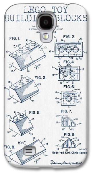 Lego Toy Building Blocks Patent - Blue Ink Galaxy S4 Case