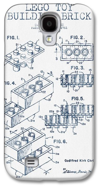 Lego Toy Building Brick Patent - Blue Ink Galaxy S4 Case
