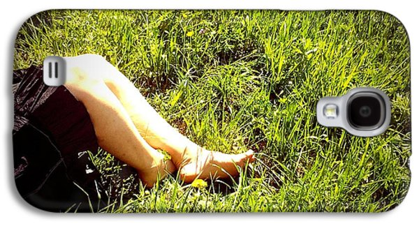 Legs Of A Woman And Green Grass Galaxy S4 Case